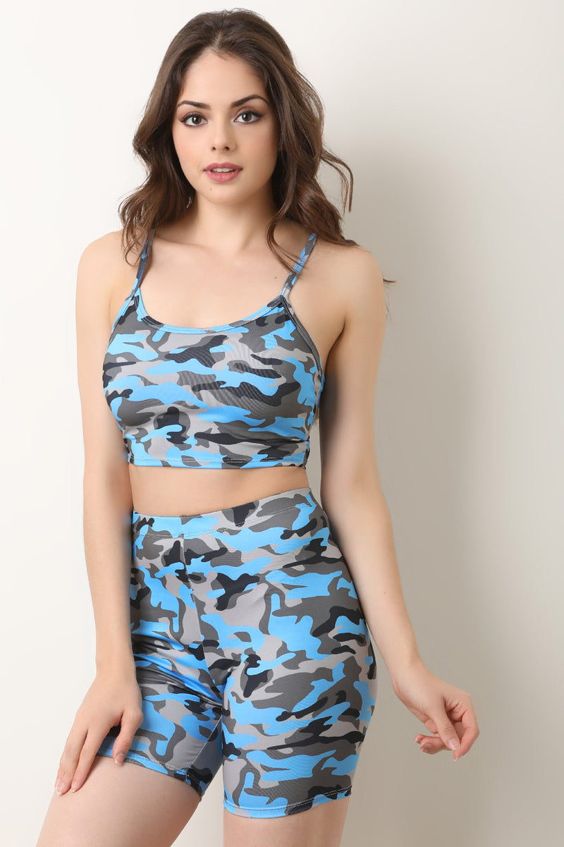 Color Camo Crop Top with Biker Shorts Set