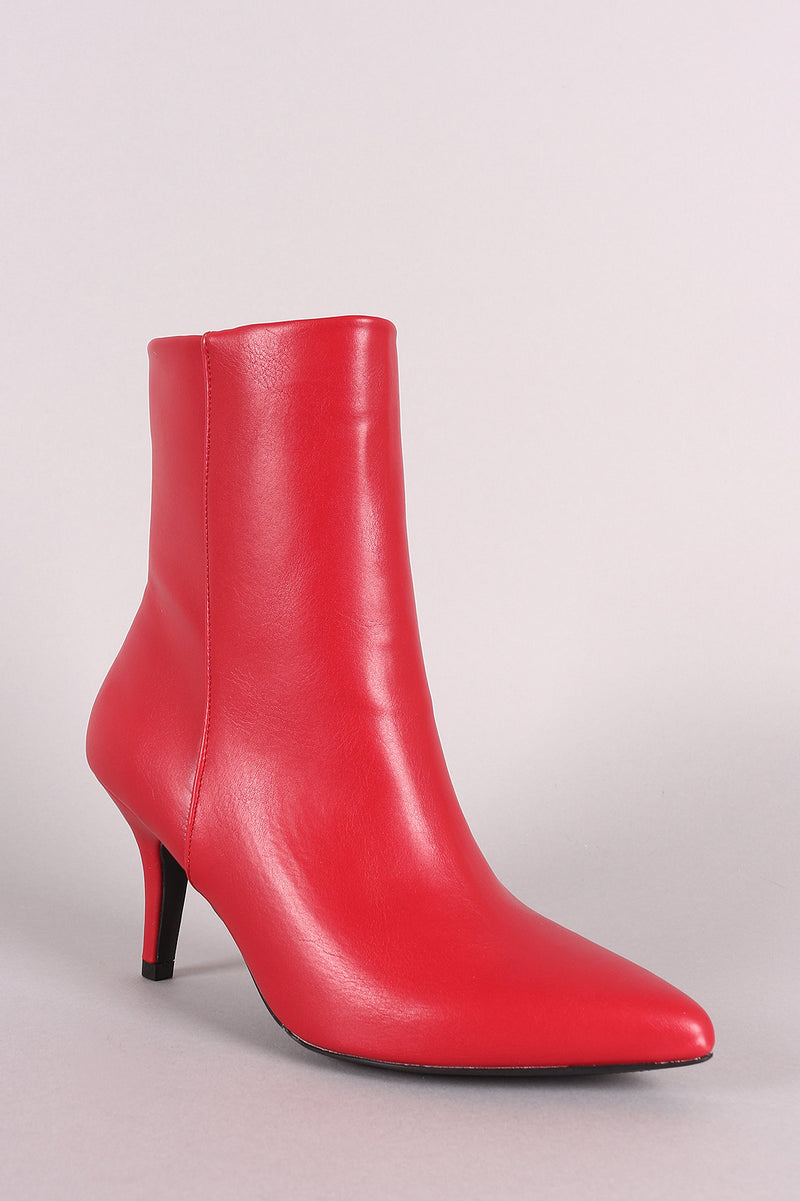 Qupid Vegan Leather Pointy Toe Kitten Heel Booties
