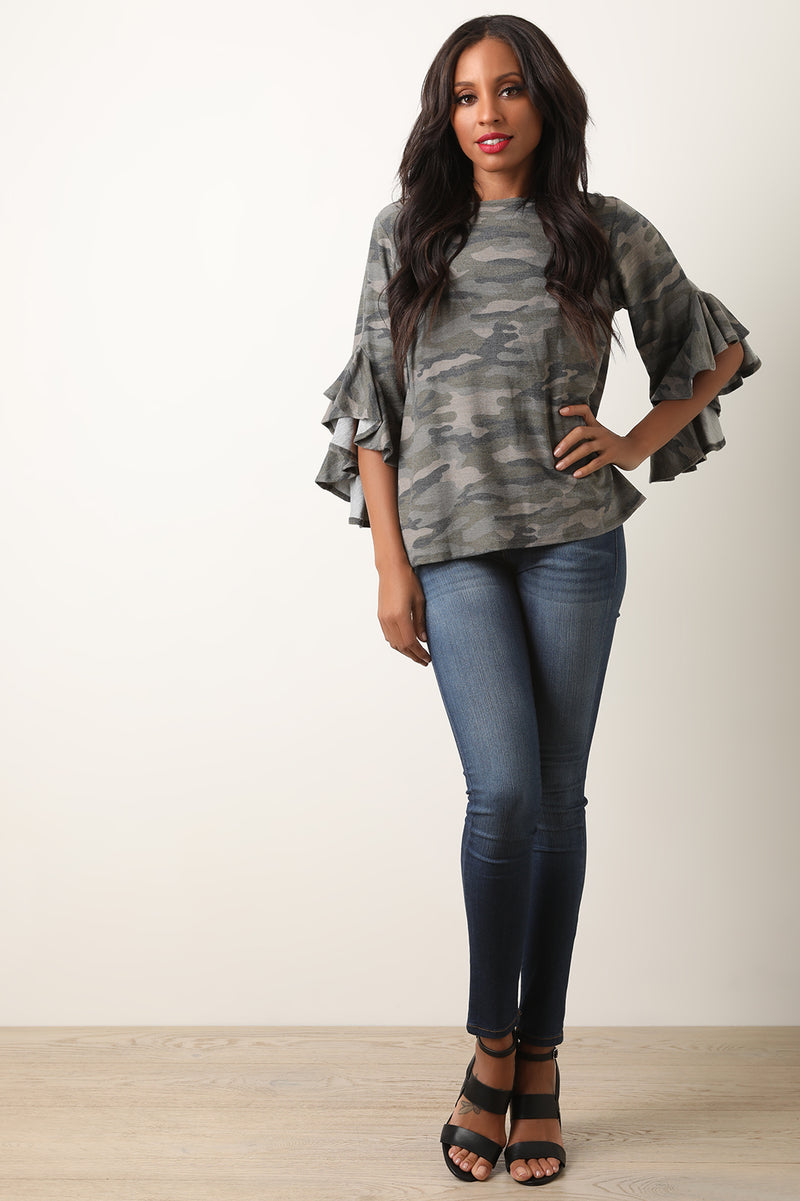Camouflage Long Ruffled Sleeve Top