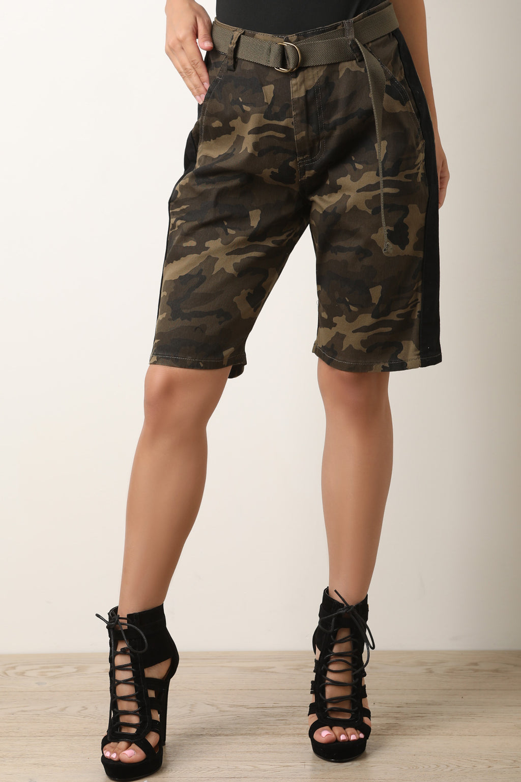 High Rise Camouflage Side Stripe Belted Cargo Shorts
