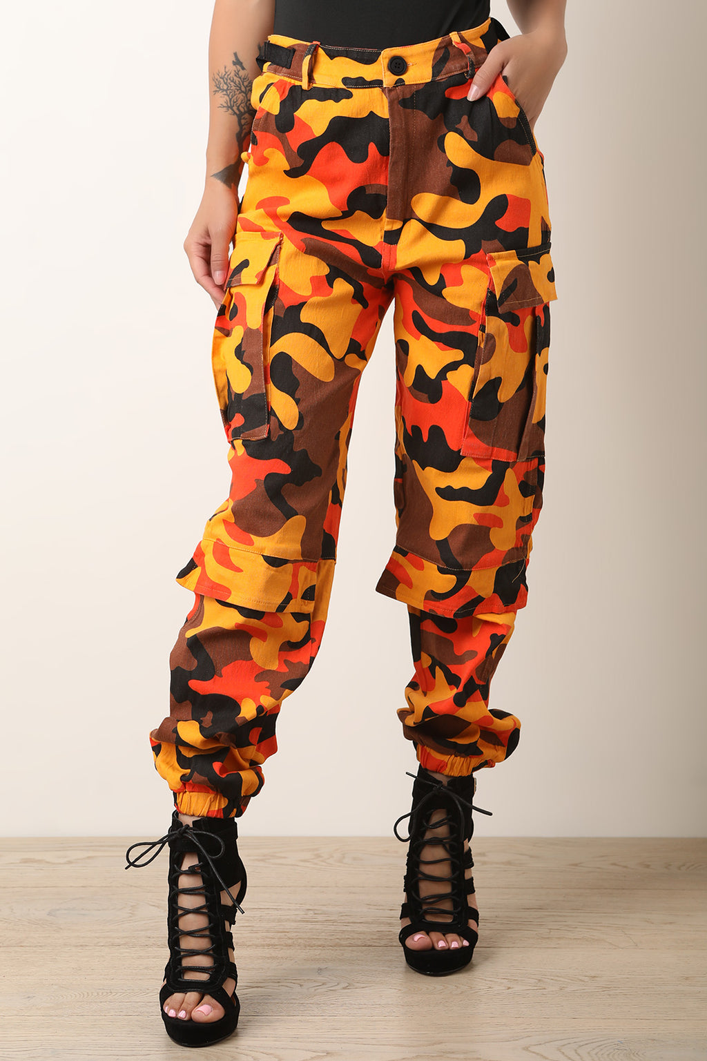 Camouflage High Waisted Side Buckled Cargo Pants