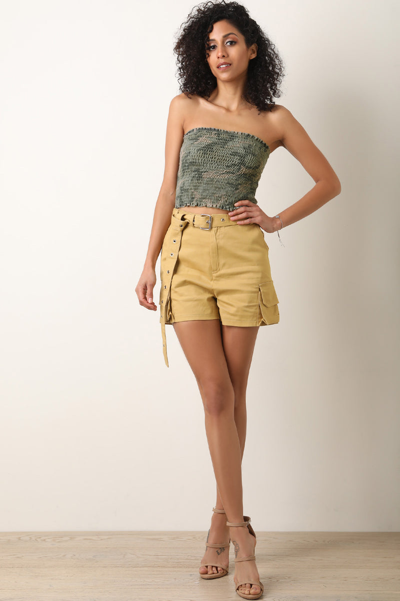 Camouflage Lettuce Trim Smock Tube Crop Top