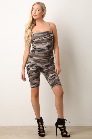 Camouflage Plein Sport Belted Cutout Mini Dress