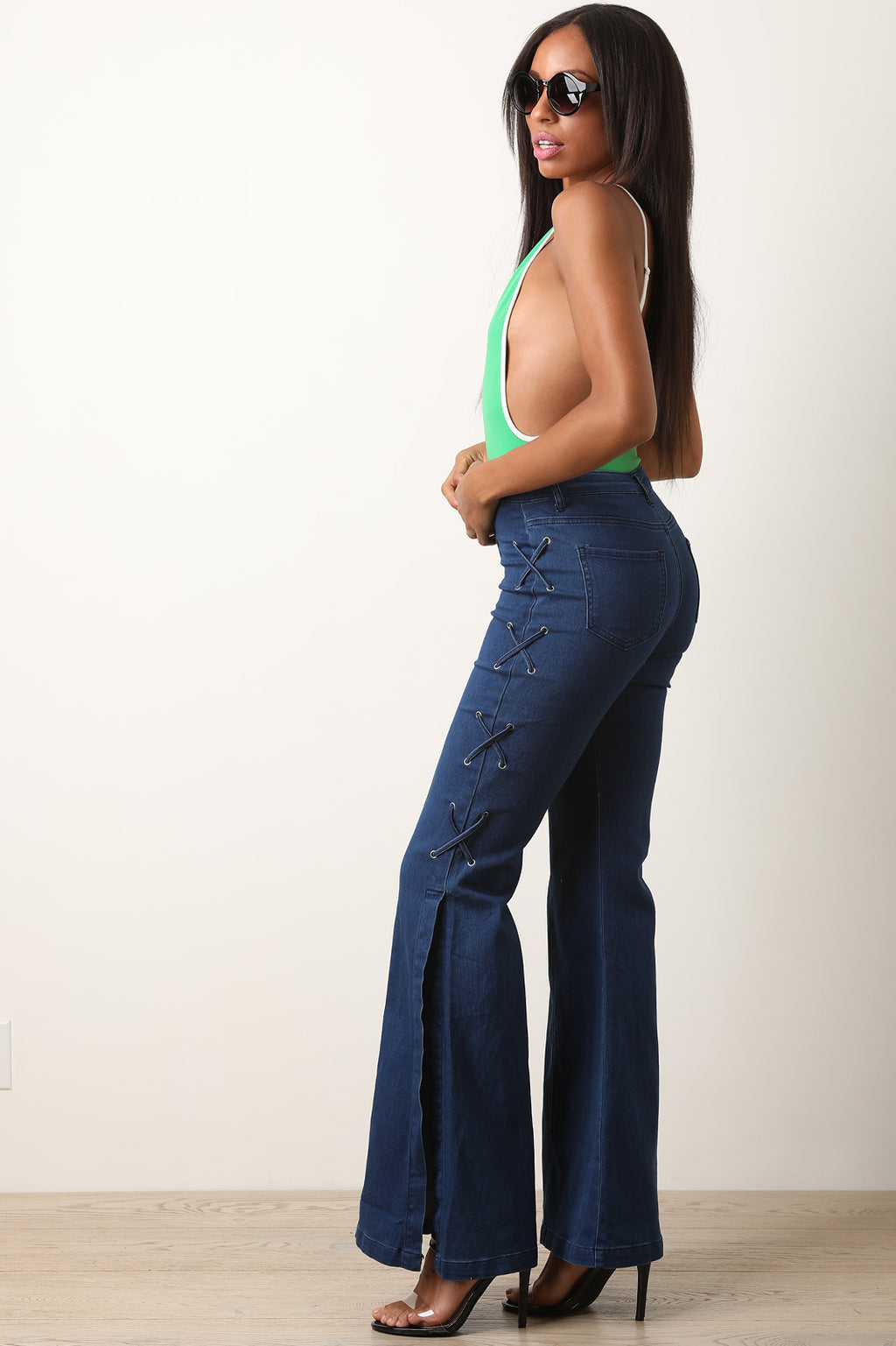 High Waisted Side Lace-Up Flared Denim Pants