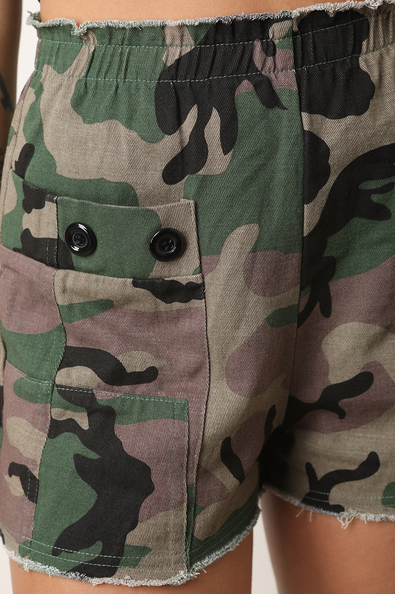 Camo Button Cargo Shorts