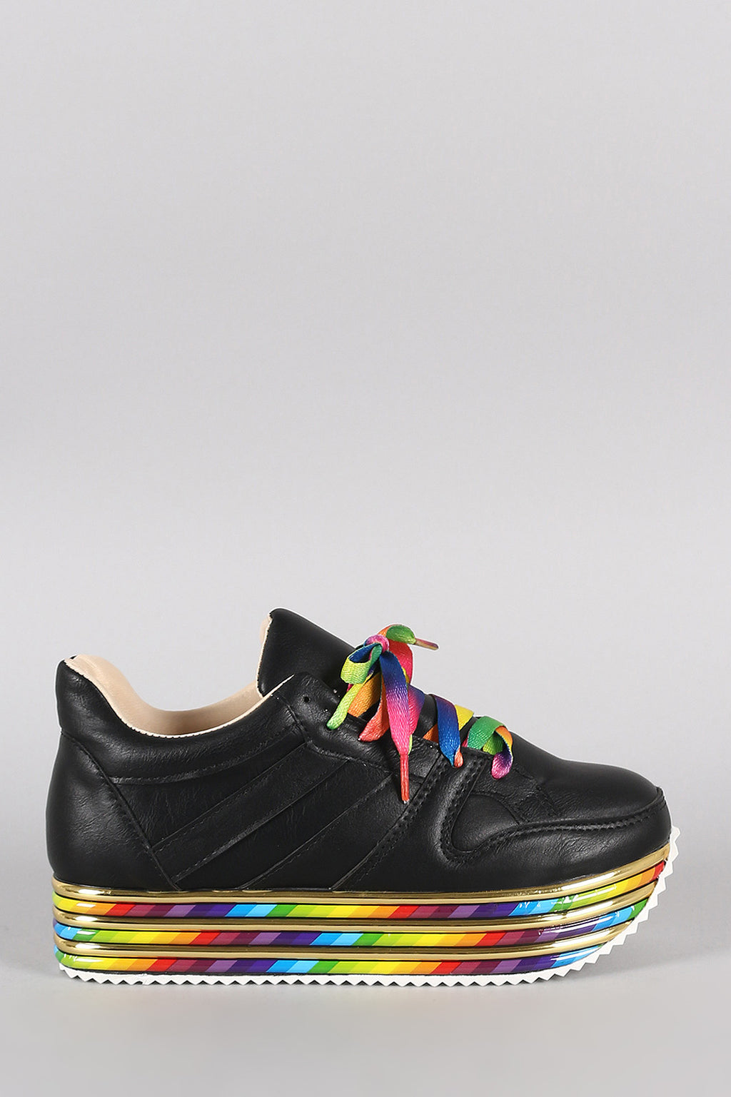 Rainbow striped Lace Up Flatform Sneaker