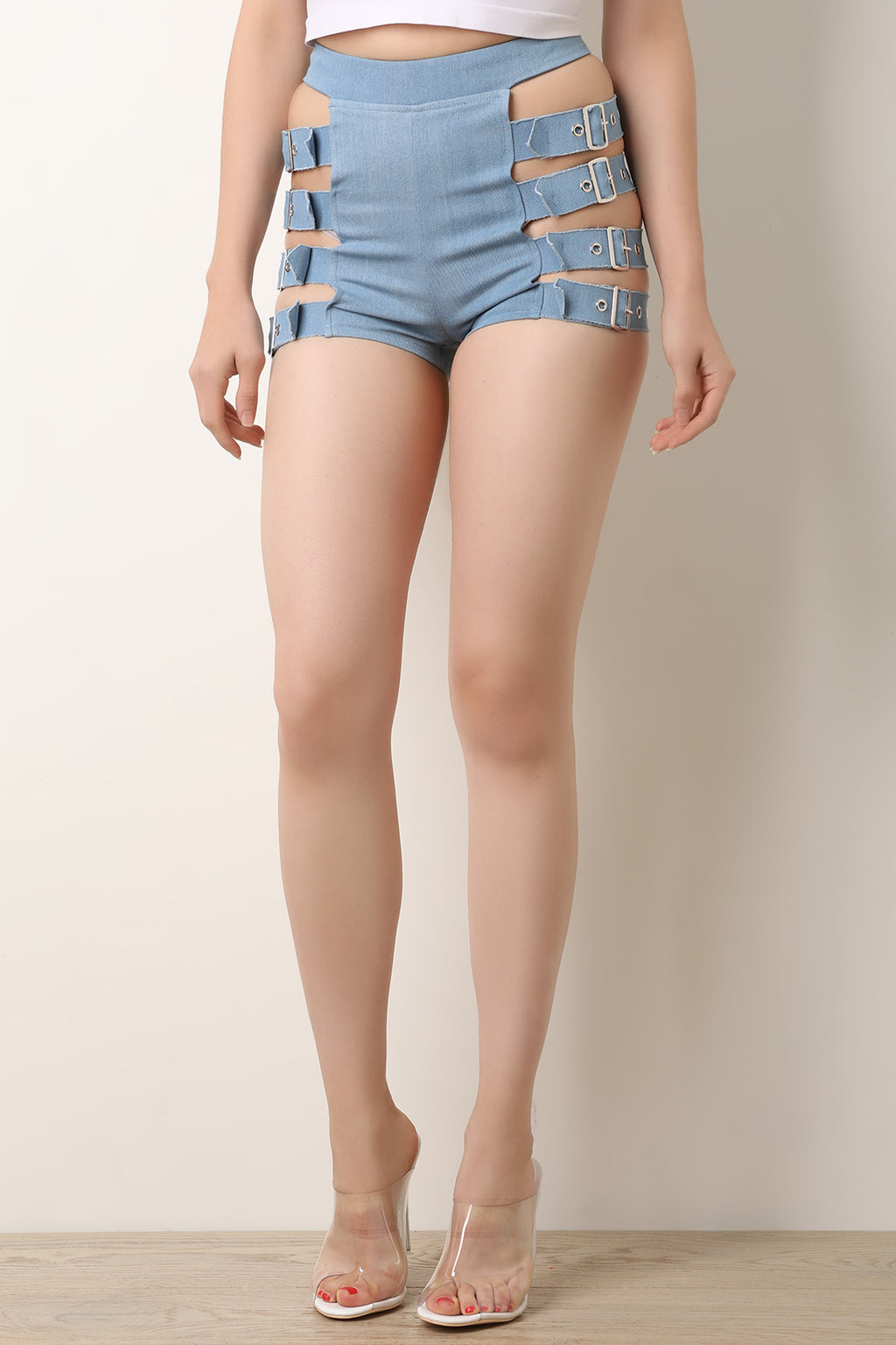Buckle Ladder Straps Denim Shorts