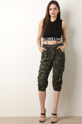 Camouflage Printed Crop Top With Flared Pants Set
