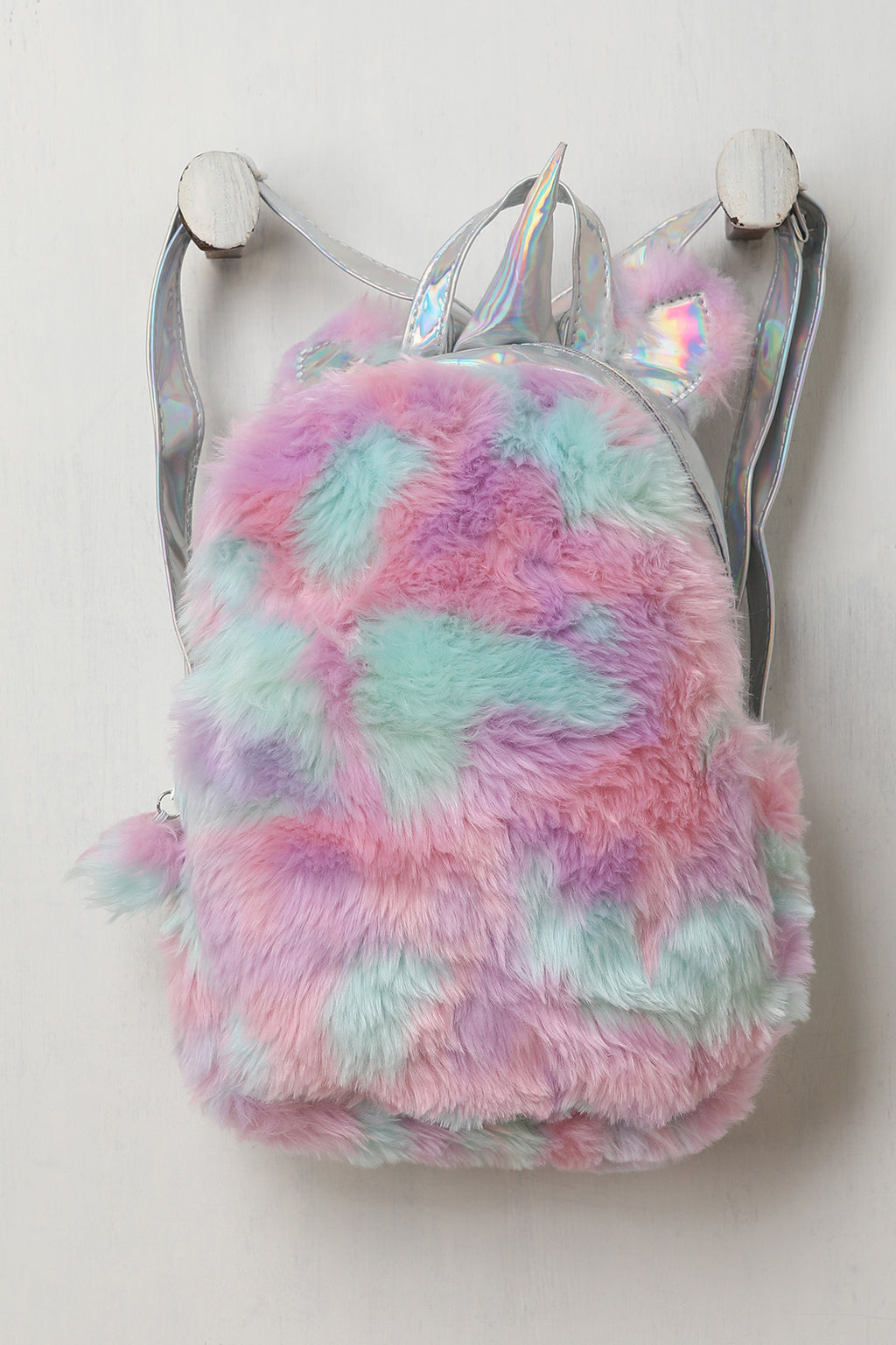 Faux Fur Unicorn Iridescent Backpack