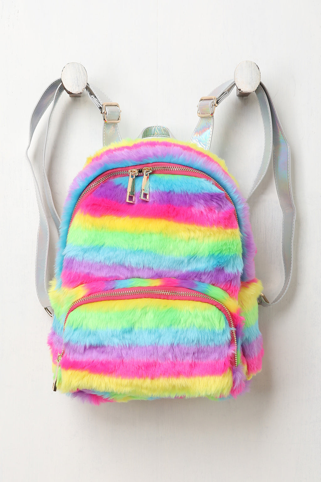 Rainbow Faux Fur Iridescent Backpack