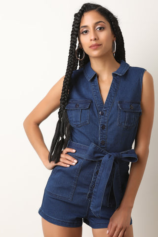 Statement Ruffle Denim Romper