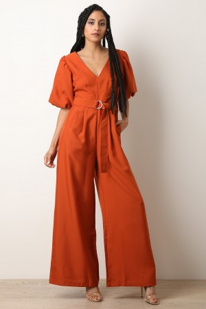 Palazzo Puff Statement Sleeve Jumpsuit