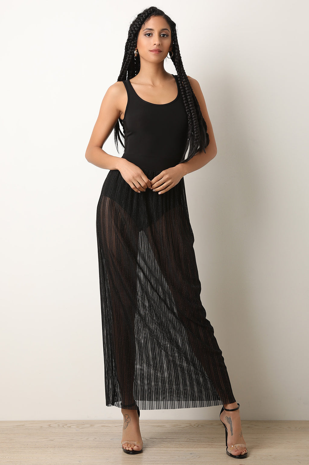 Metallic Ribbed Mesh Bodysuit Maxi Dress