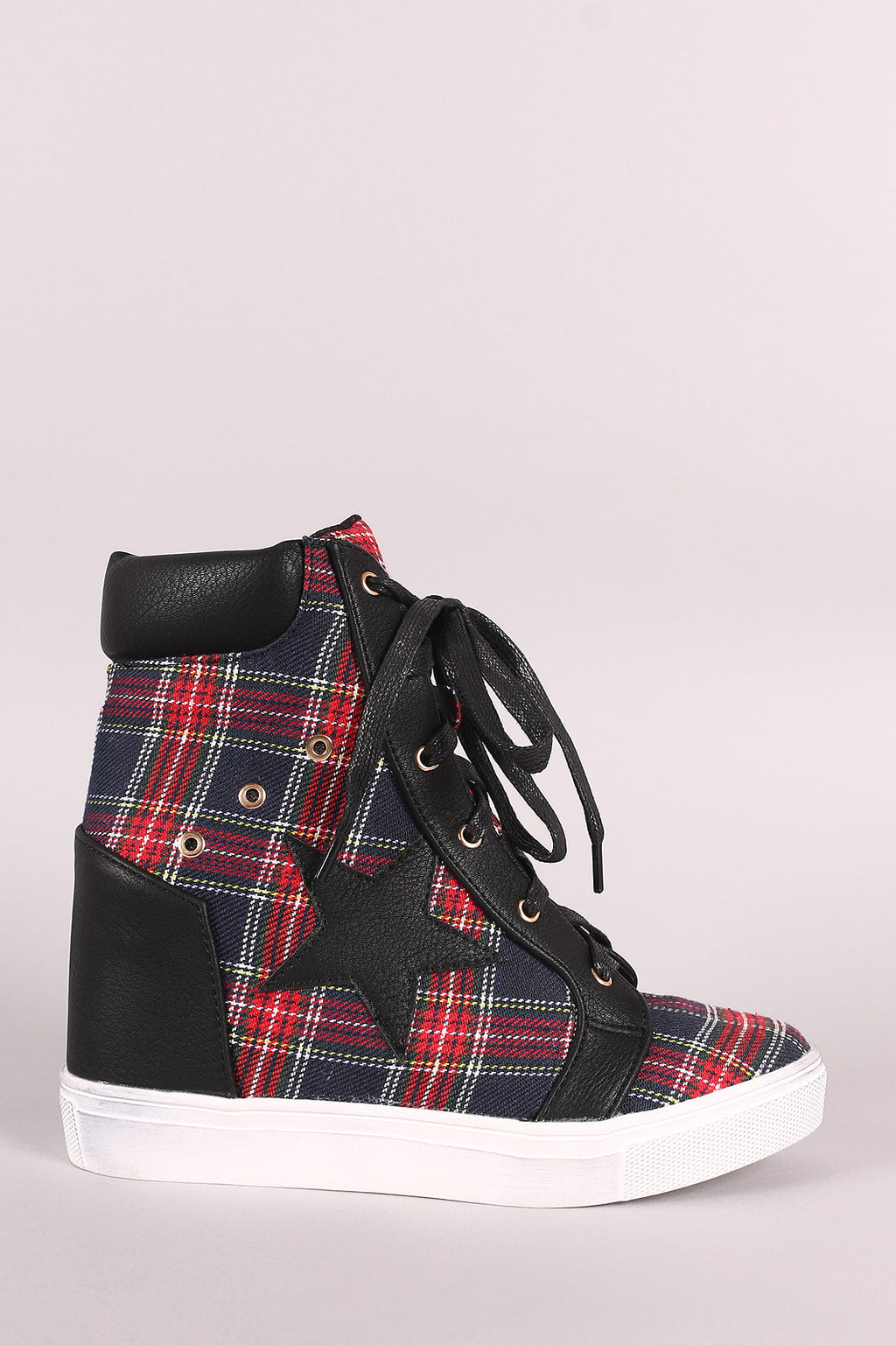 Plaid Star Accent Lace-Up High Top Wedge Sneaker