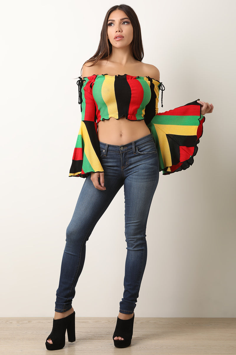 Rasta Knit Off The Shoulder Bell Sleeve Crop Top