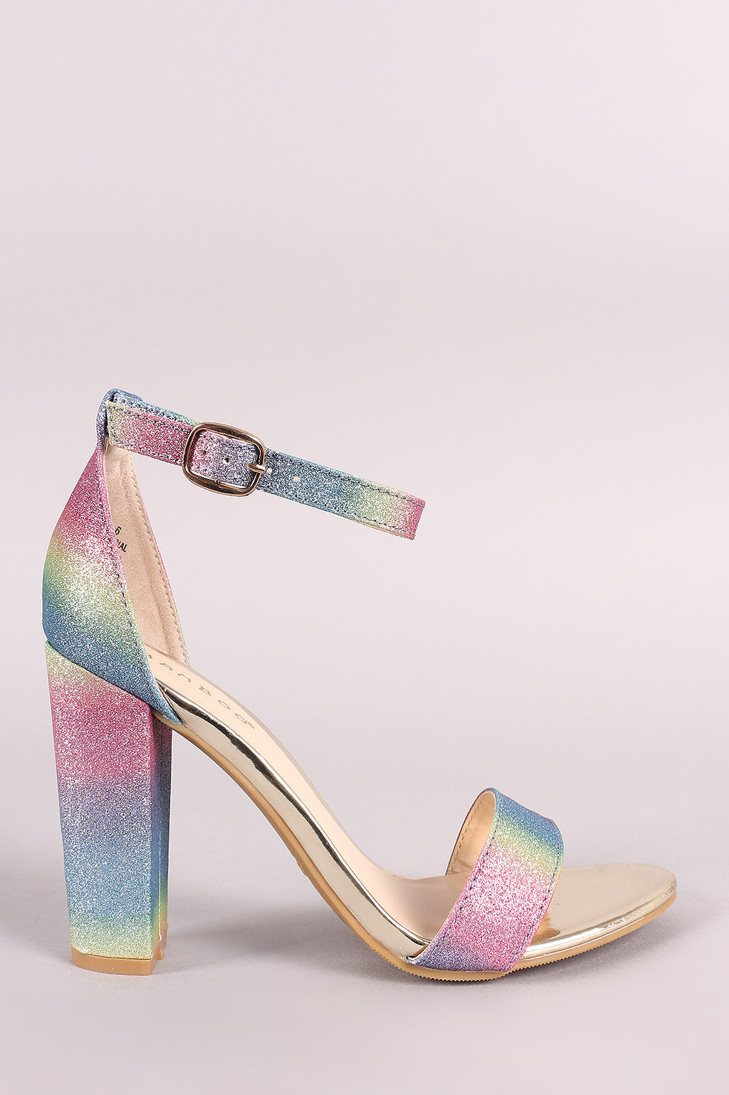 Bamboo Multicolor Pastel Glitter Ankle Strap Chunky Heel