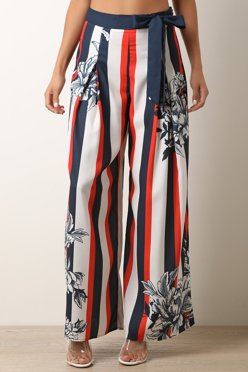 Floral Accent Striped Palazzo Pants