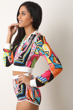 Pop Art Crop Jacket with Shorts Set