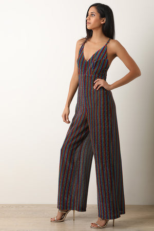 Glitter Stripe Cross Back Wide Leg Jumpsuit
