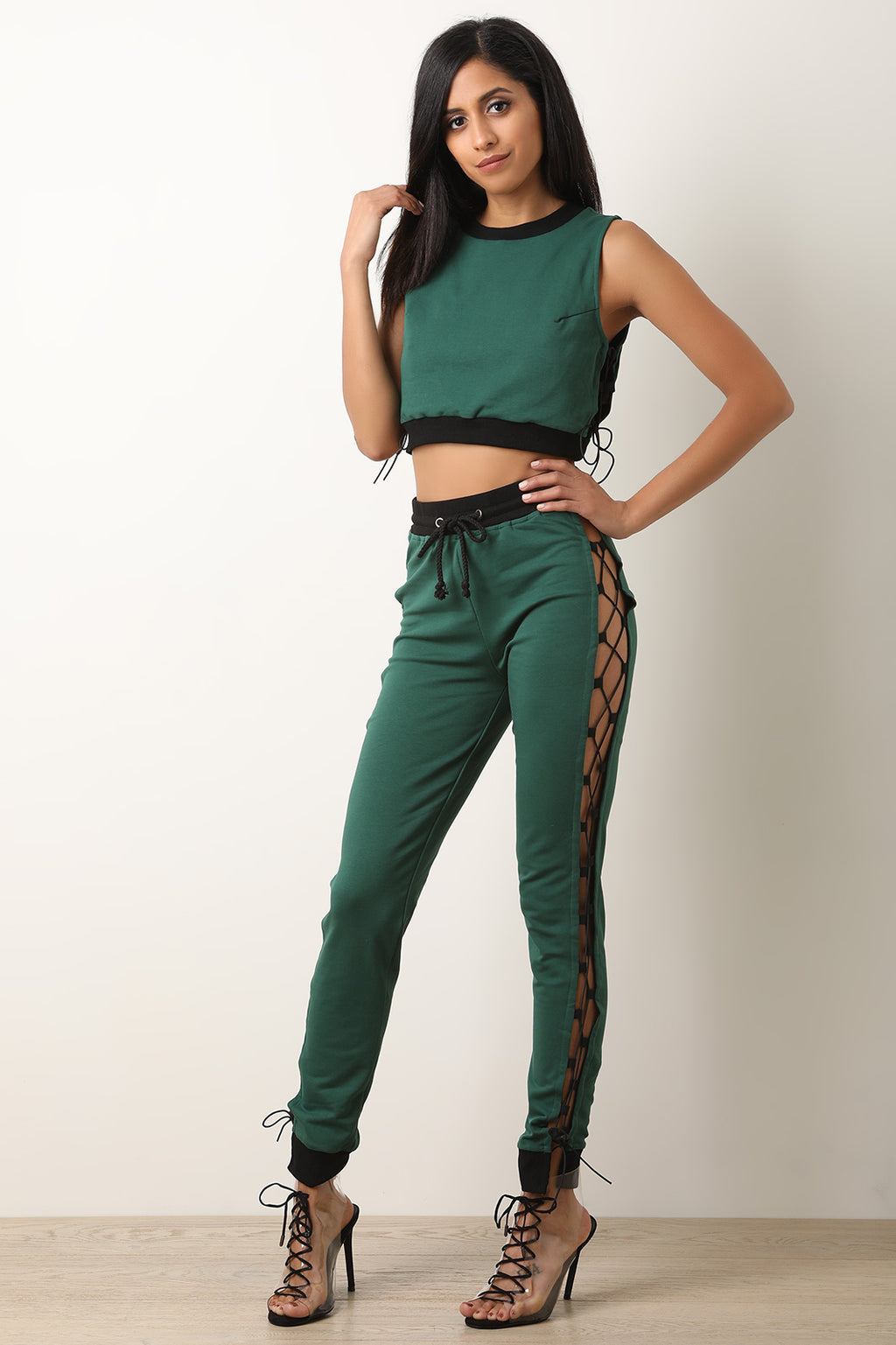 Corset Lace-Up Crop Top With Jogger Pants Set