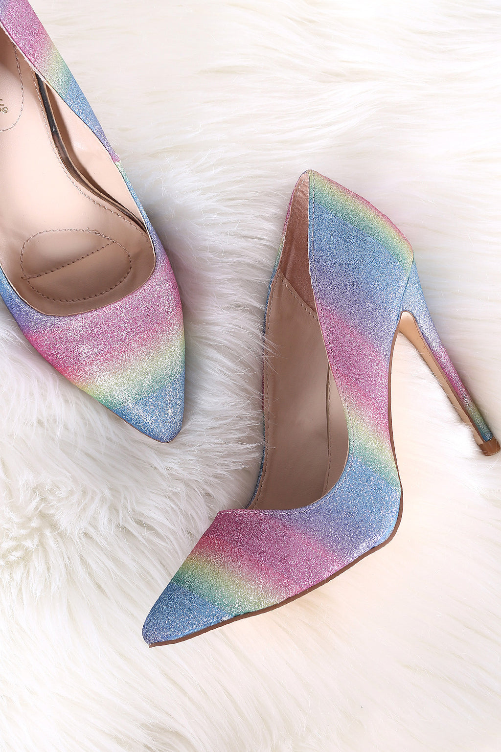 Anne Michelle Colorful Glitter Pointy Toe Stiletto Pump
