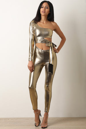 Metallic One Shoulder Cutout Fitted Jumpsuit