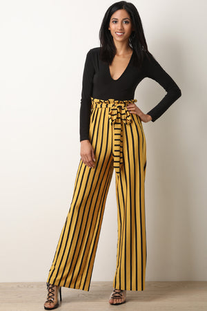 V-Neck Long Sleeve Striped Twofer Palazzo Jumpsuit
