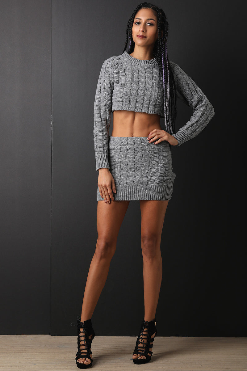 fd659bb6e1a Two-Piece Square Cable Knit Crop Sweater with Mini Skirt Set ...