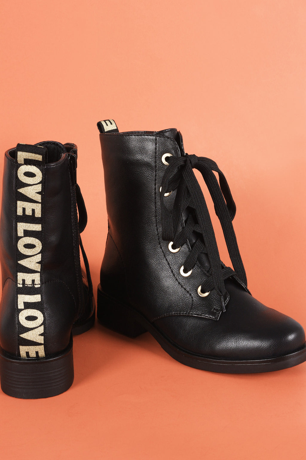 Bamboo Love Detail Lace-Up Combat Ankle Boots