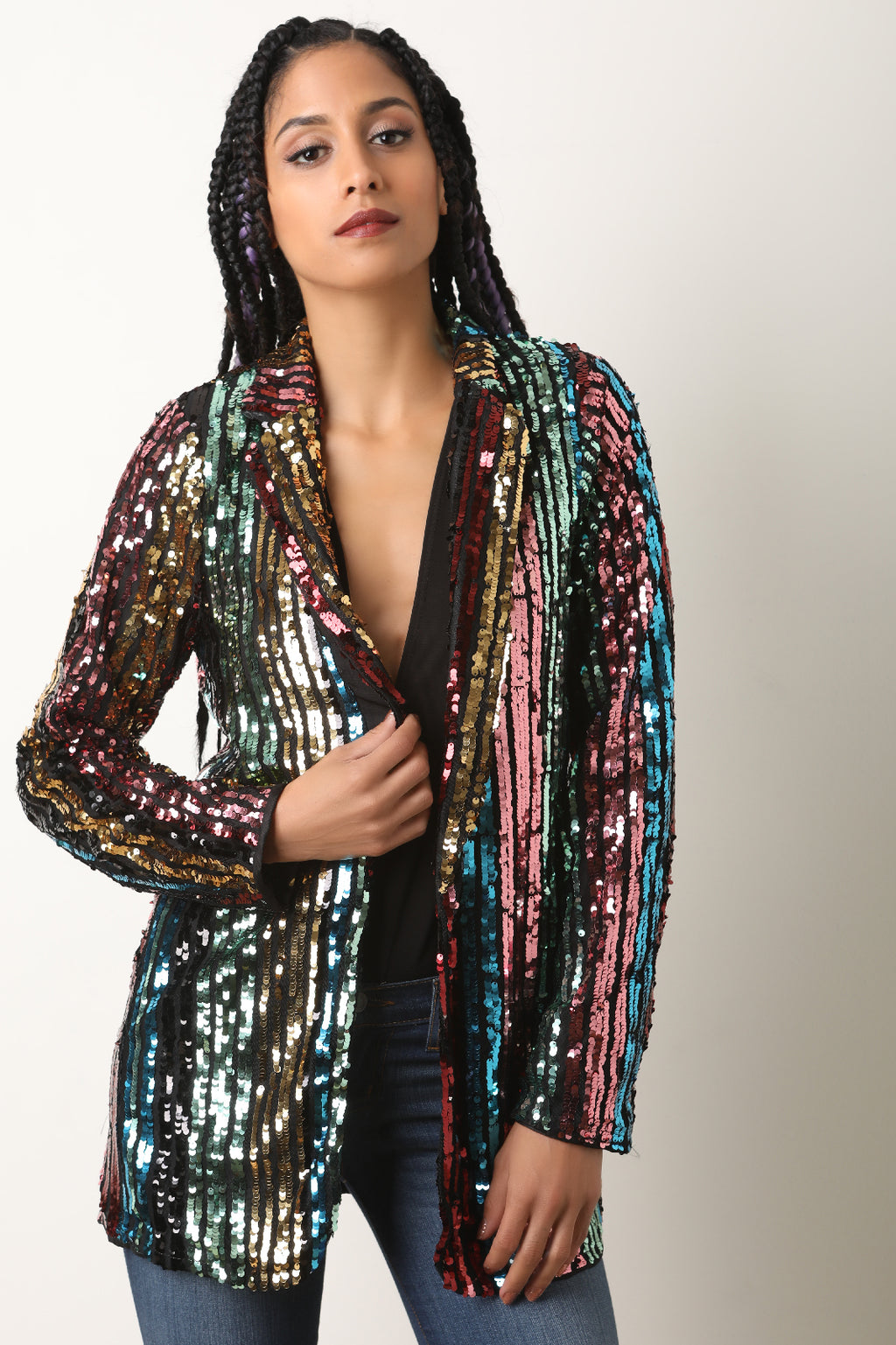 Multi Sequins Stripe Open Front Blazer