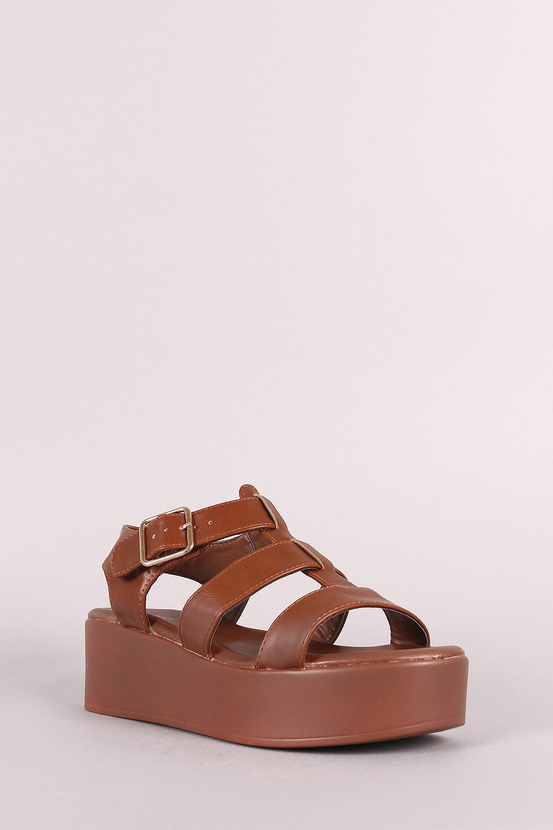 Bamboo Leather Open Toe Strappy Caged Flatform Sandal