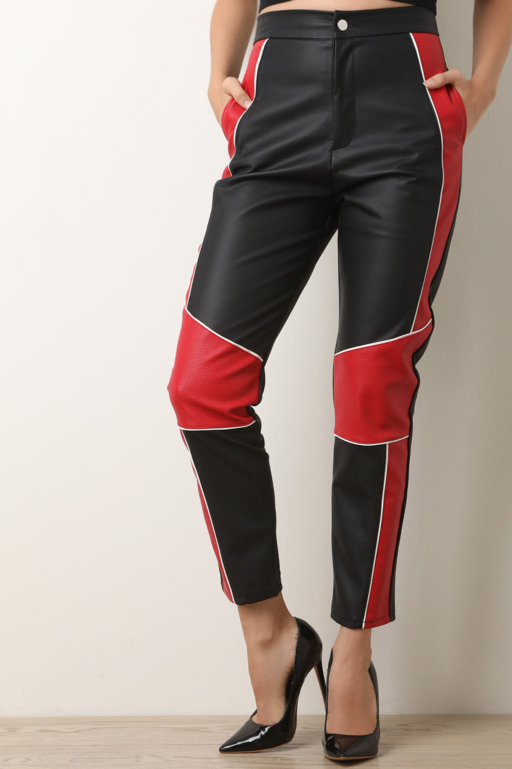 Colorblock High Waisted Vegan Leather Ankle Pants