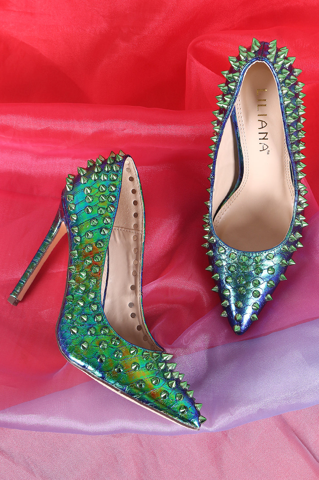 Liliana Spike Studs Snake Embossed Pointy Toe Stiletto Pump