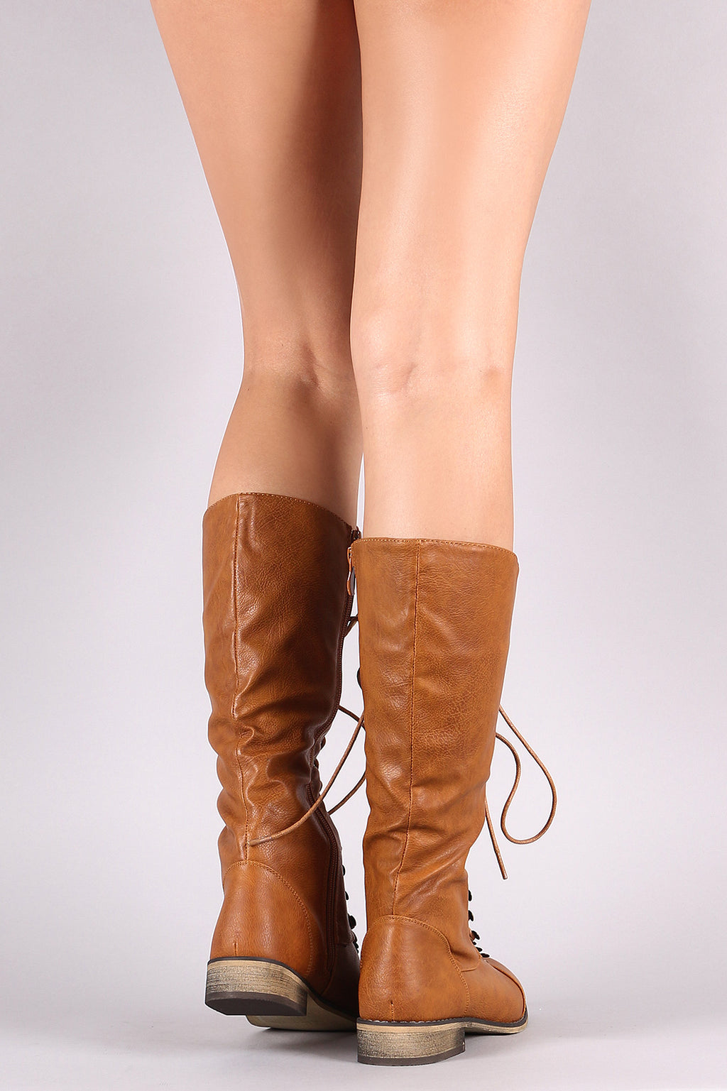 Cap Toe Lace Up Combat Knee High Boot