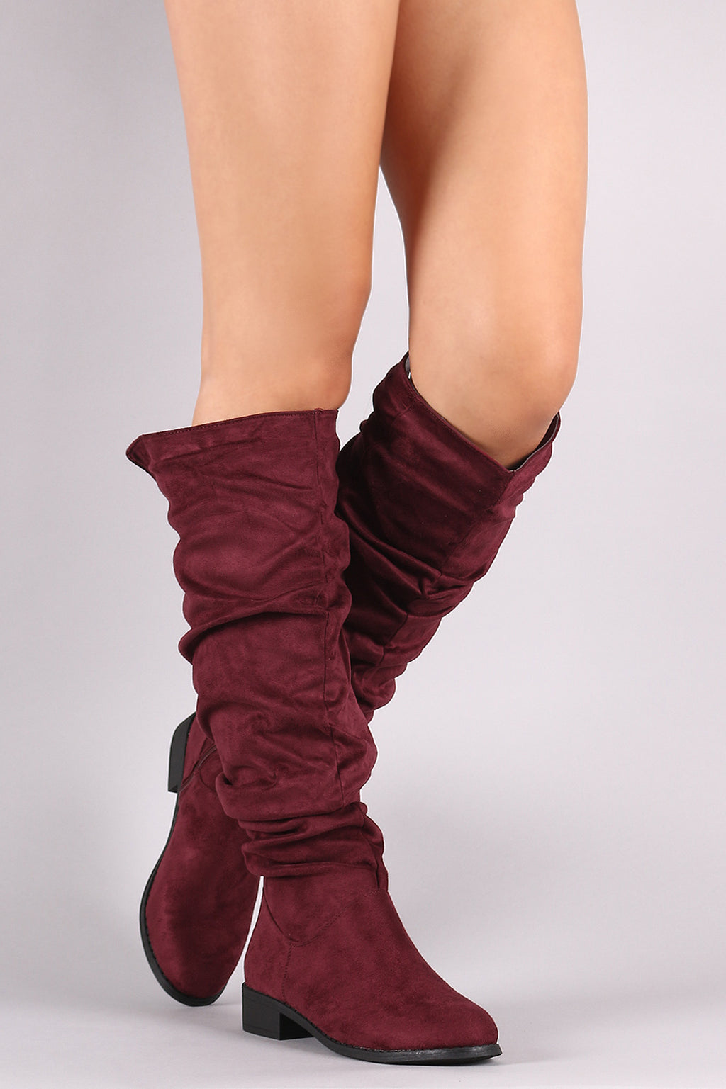 Slouchy Suede Riding Knee High Boots