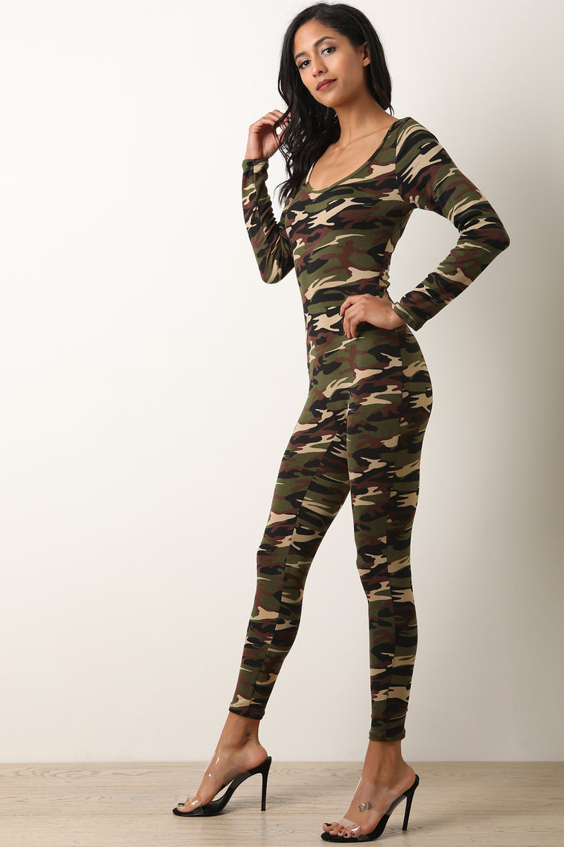 Back Glitter Lip Camouflage Scoop Neck Long Sleeves Jumpsuit