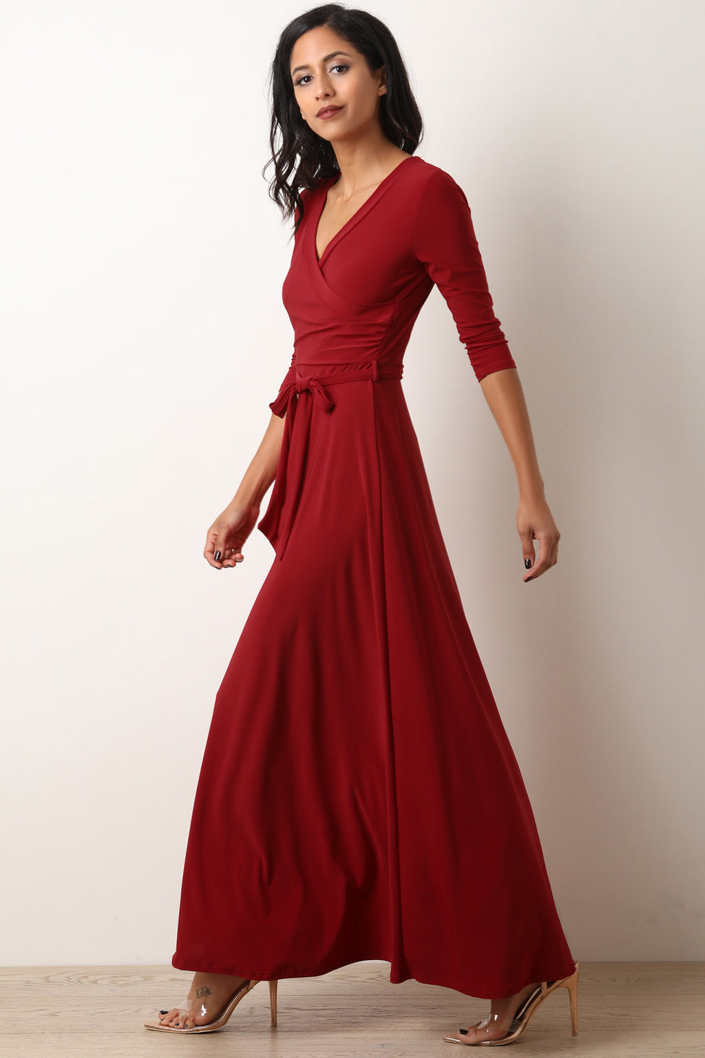 Surplice Waist Sash Maxi Dress
