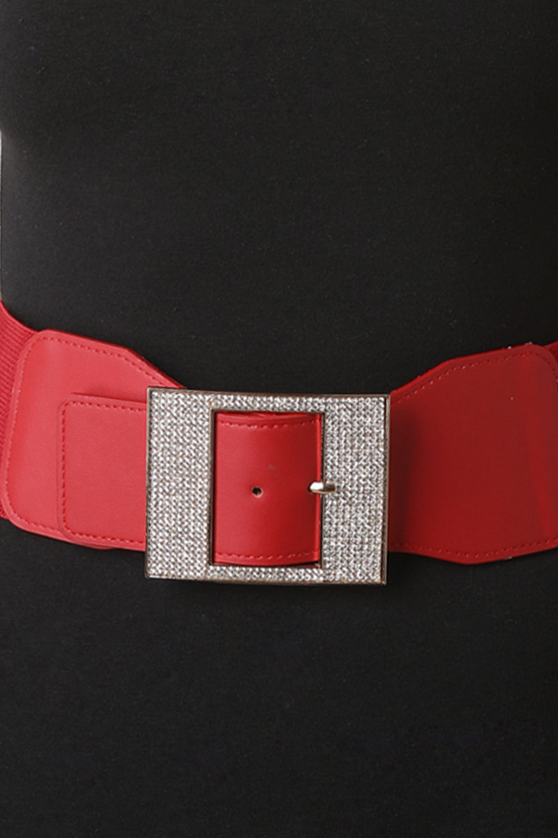 Wide Rhinestone Buckled Belt