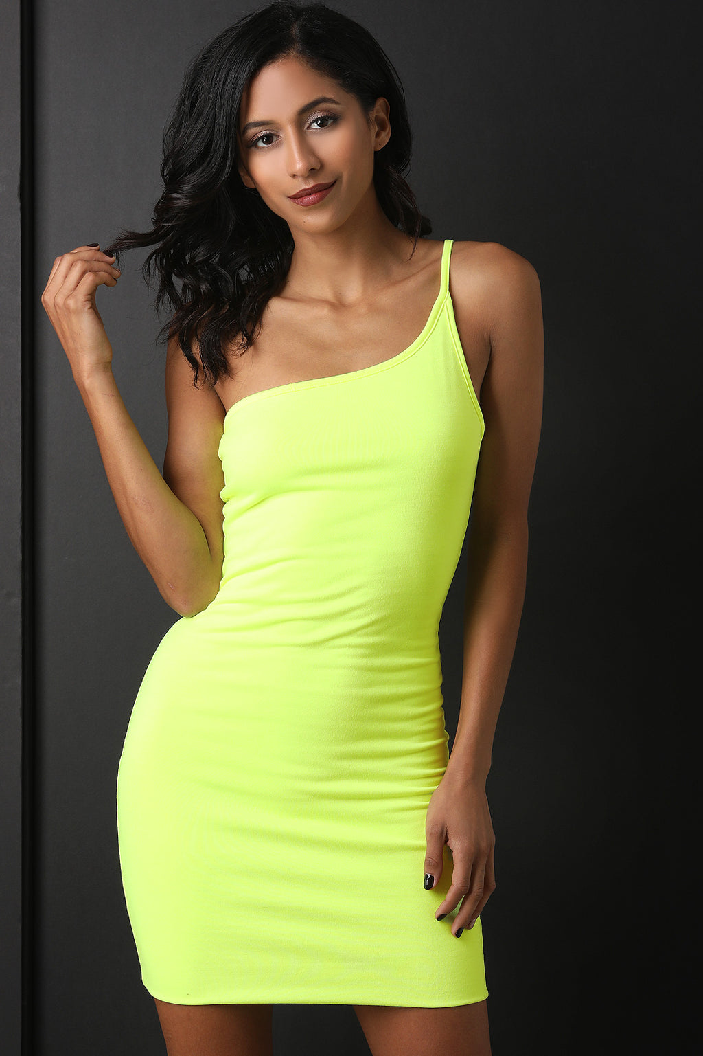 Neon One-Shoulder Bodycon Mini Dress