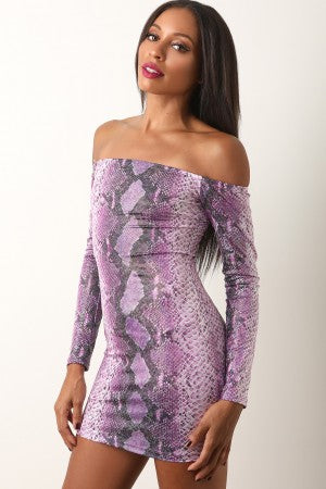 Holographic Shimmer Snake Print Bardot Mini Dress