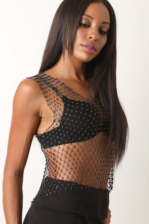 Rhinestone Diamond-Mesh Sleeveless Top