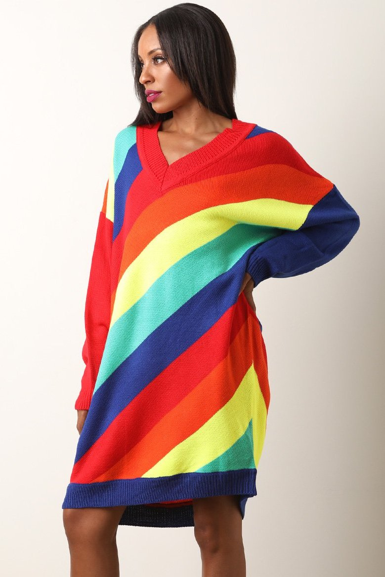 Diagonal Rainbow Striped Oversize Sweater Knit Dress