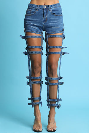 Twofer Buckle Caged High Rise Denim Jeans Shorts