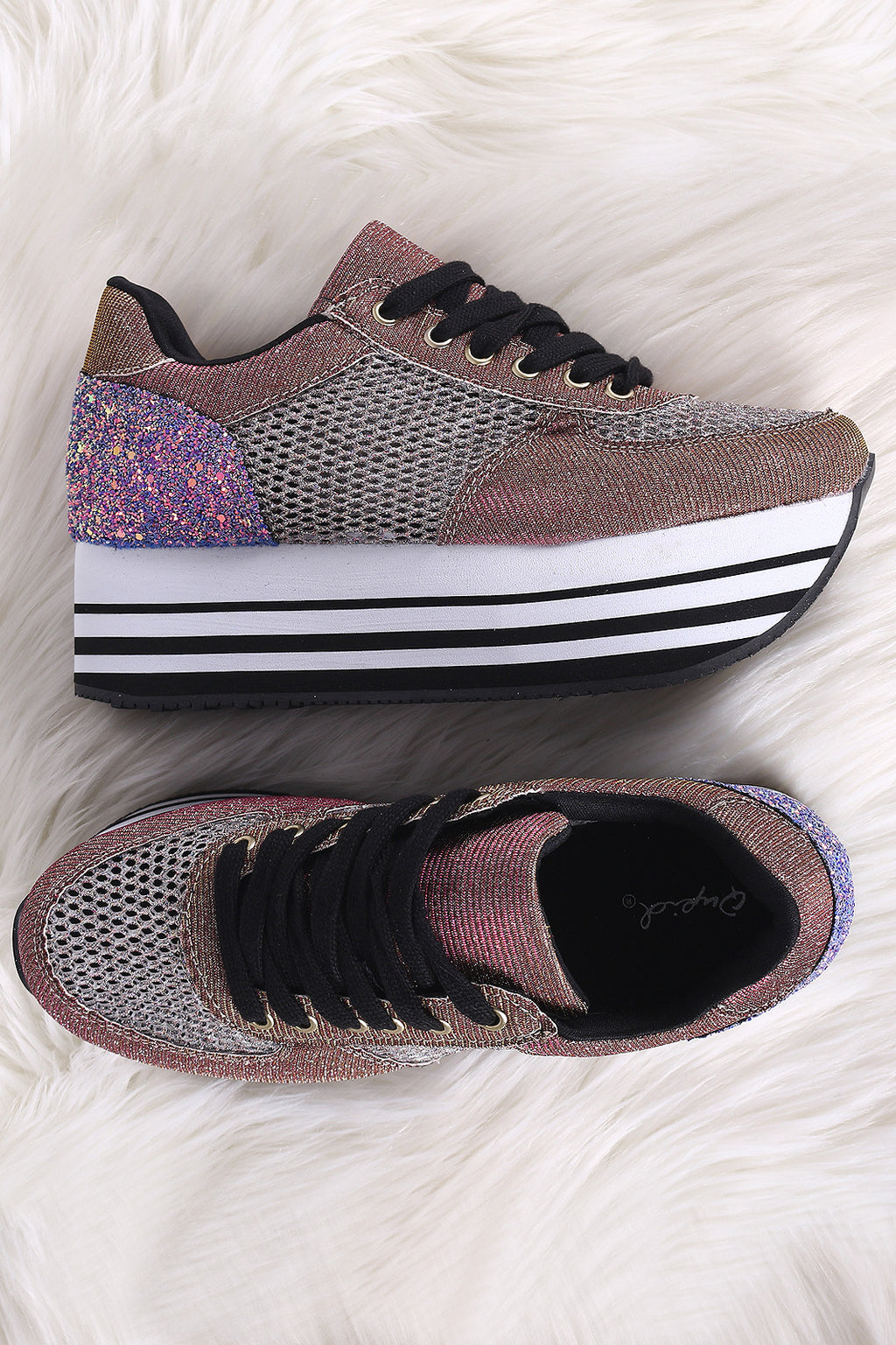 Qupid Glitter Fishnet Stripe Lace-Up Flatform Sneaker