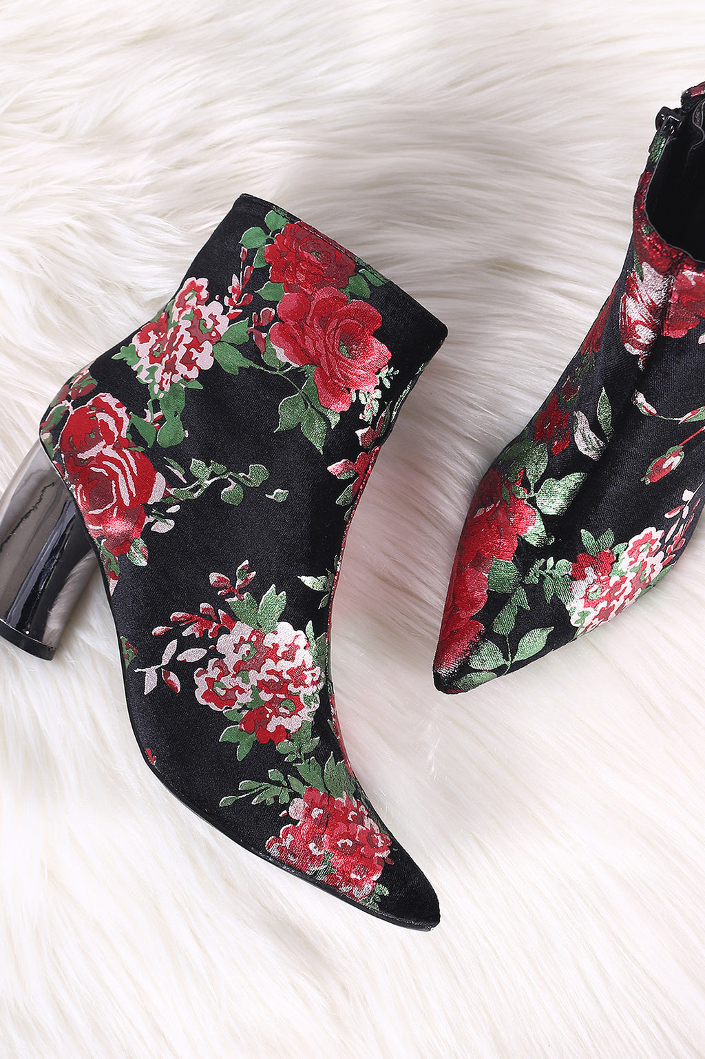 Shoe Republic LA Floral Accent Pointy Toe Curvy Heeled Booties
