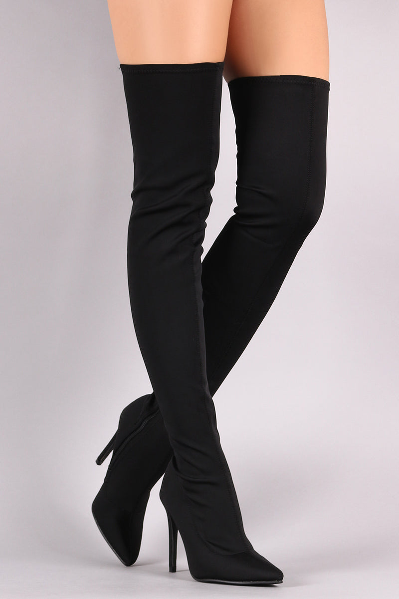 Fashion Cities Pointy Toe Over The Knee Stiletto Boots