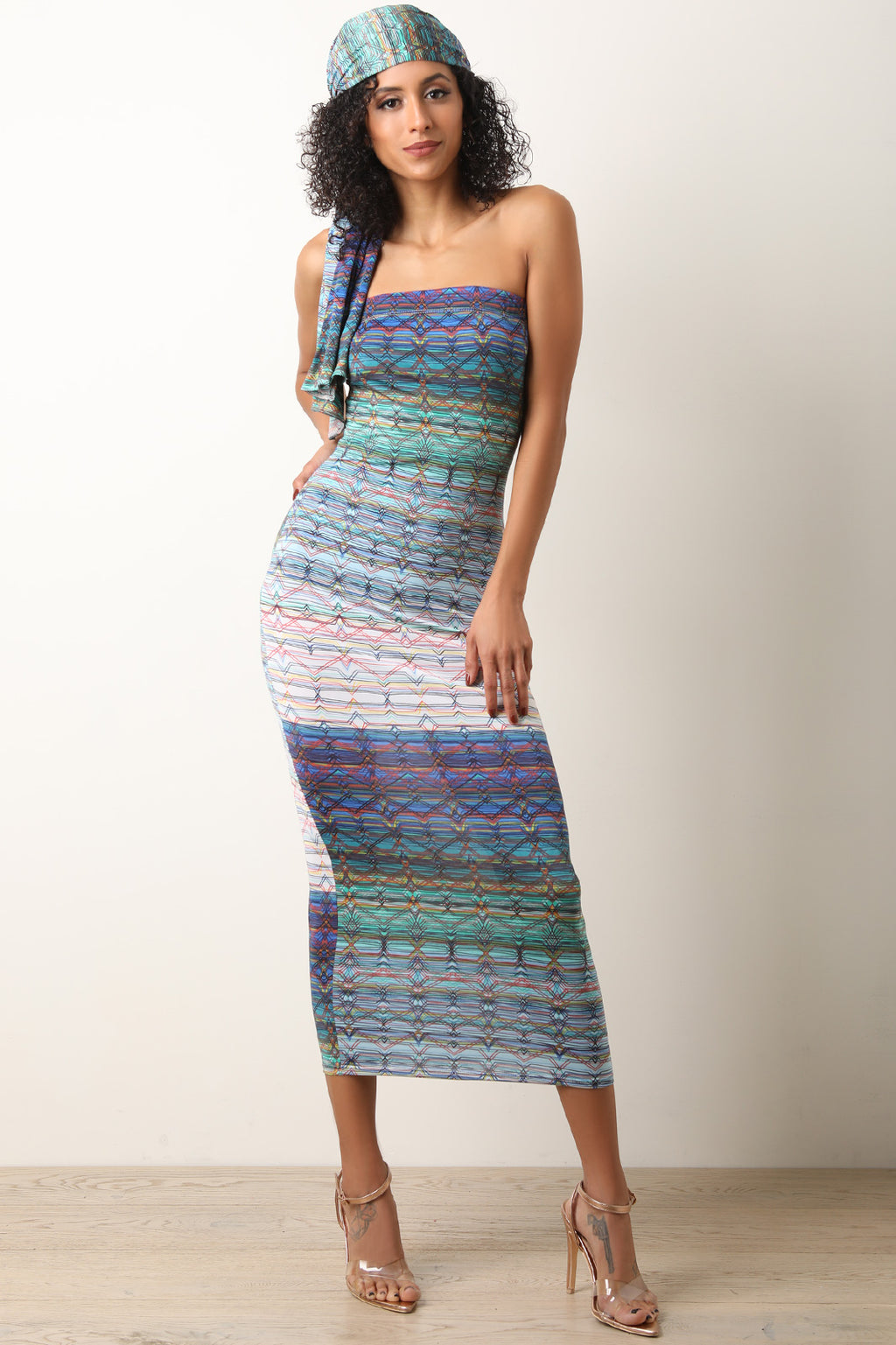 Printed Multi-Purpose Wrap Tube Midi Dress
