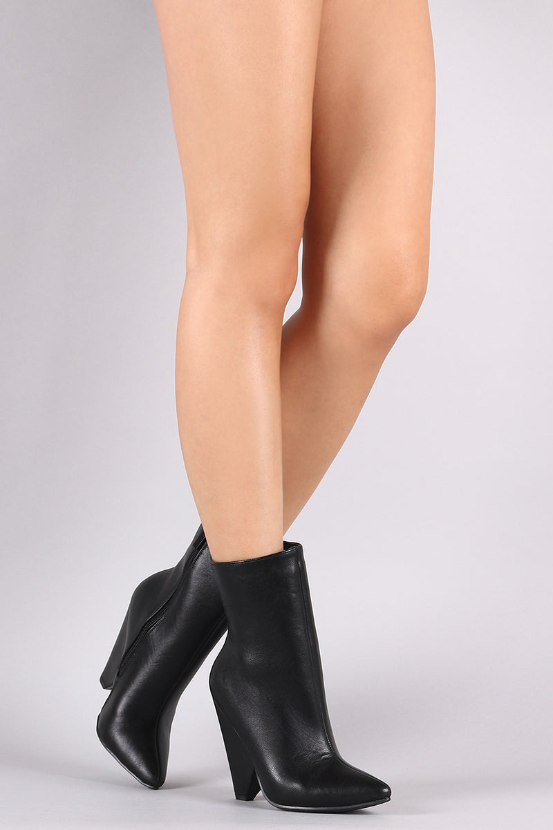 Bamboo Pointy Toe Cone Heeled Ankle Boots