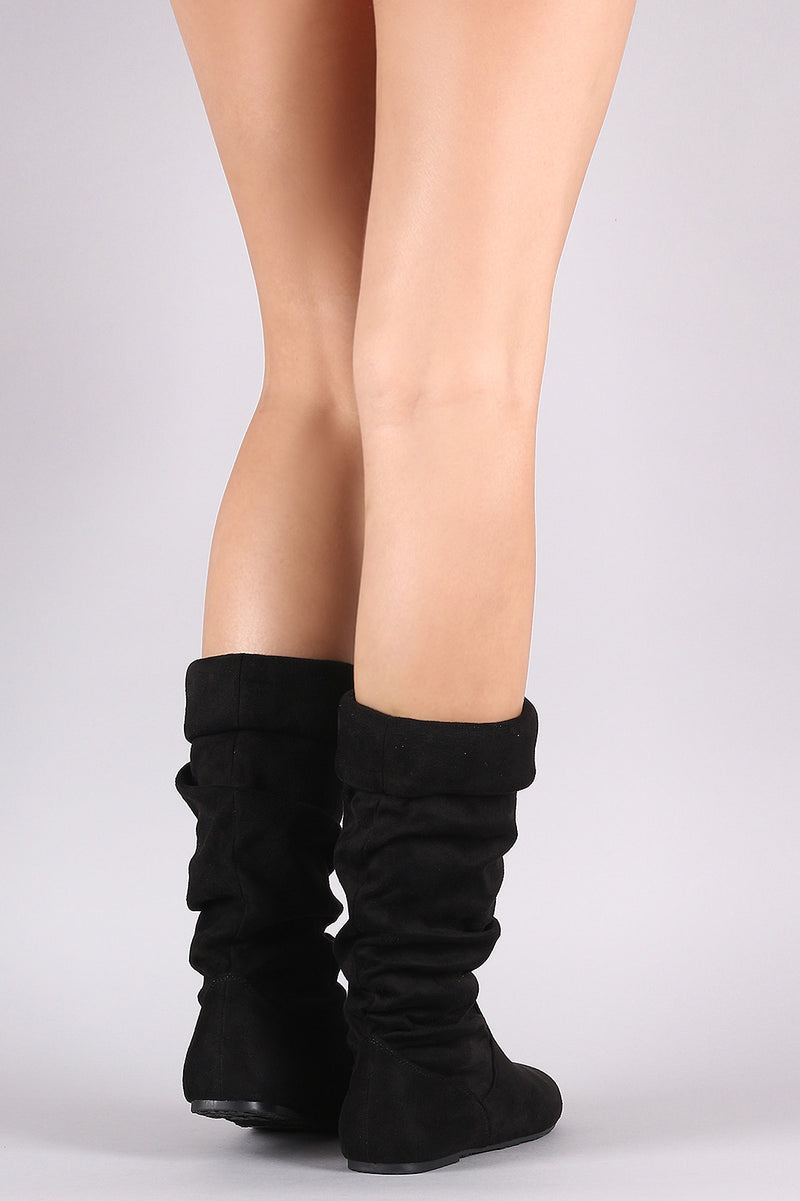 Folded Cuff Slouchy Mid-Calf Boots