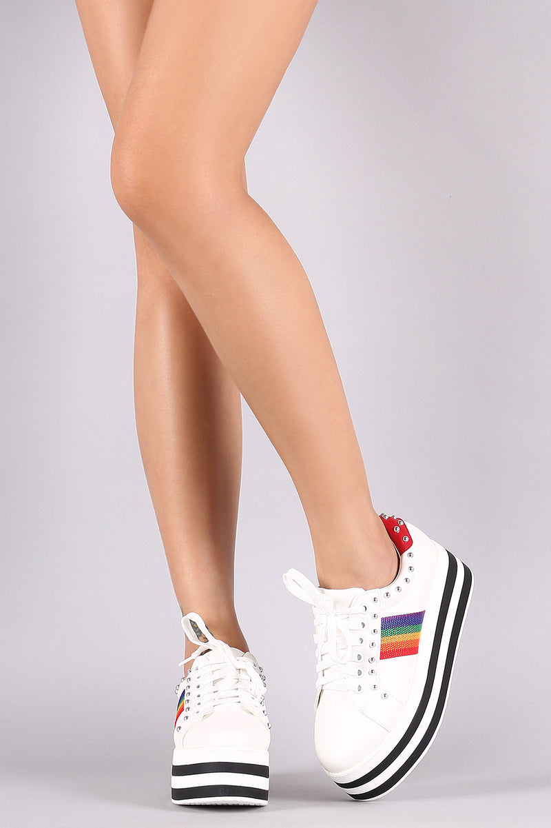 Studded Lace-Up Stripe Flatform Sneaker